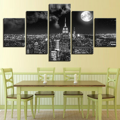 Empire State Building New York Night Moon Poster 5 Panel Canvas Print Wall Art