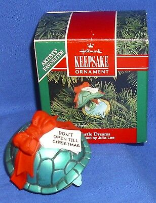 Hallmark Clip On Christmas Ornament Turtle Dreams 1992 Shell Opens & Closes Used