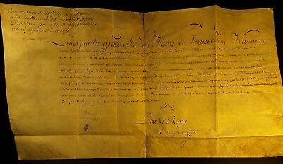 KING LOUIS XV AUTOGRAPH on PARCHMENT - REFORMED CAMP MARSHAL'S COMMISSION - 1757