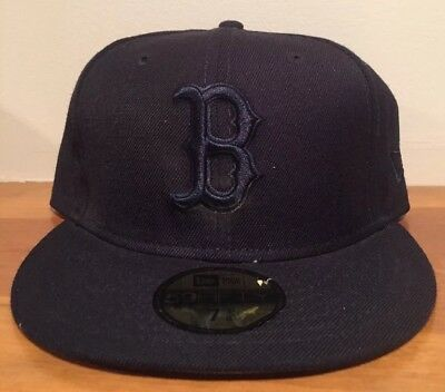 7bcc85a58e0 Boston Red Sox New Era 59Fifty Blackout Black Fitted Hat Cap Size 7 3 8