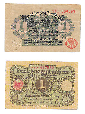 Germany German Banknote Lot 1914, 1920; 1 One Mark Marks Note World War 1; 2 PCS