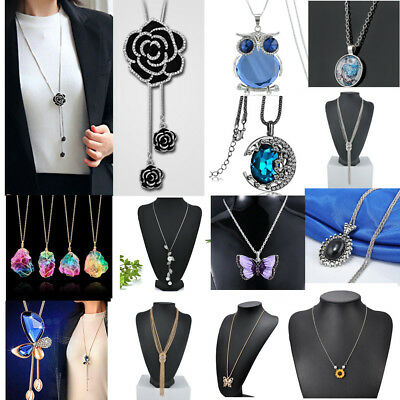 Fashion Gift Pearl Crystal Pendant Chain Necklace Jewelry Valentine's Gift