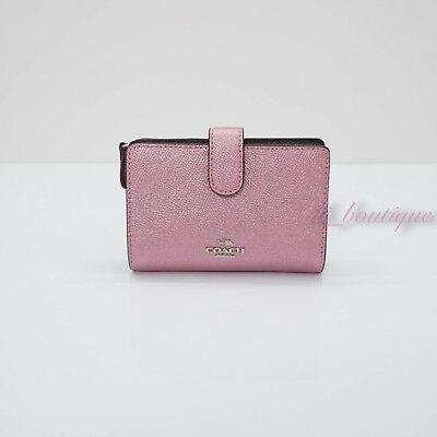 3a58fcf16ed5a4 NWT Coach F23256 Medium Corner Zip Wallet Crossgrain Leather Metallic Blush   165
