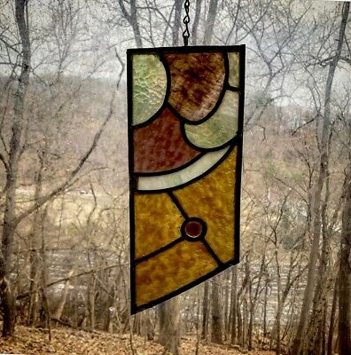 Architectural Salvage Leaded Church Stained Glass- Textured Glass Amber, Green