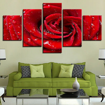 Red Rose Flower Bud With Water Dew Rain 5 Panel Canvas Print Wall Art Painting