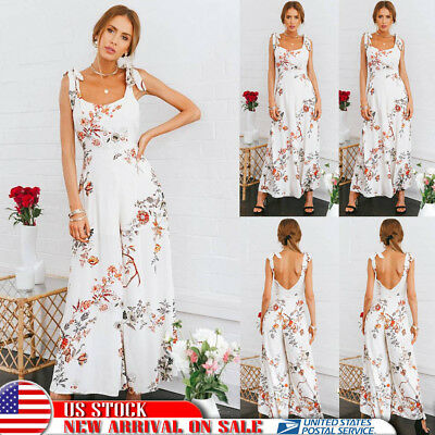Womens Summer Pantskirt Floral Jumpsuit Strappy Wide Leg Trousers Party Playsuit