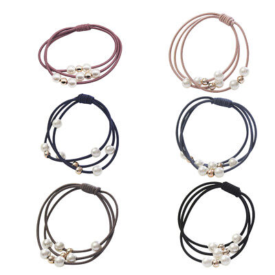 4 Pcs Fashion Pearl Woman Girl Hair Jewelry Knotted Rubber Band Head Rope New
