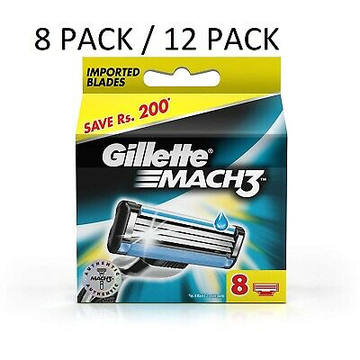 Gillette Mach 3 Cartridges 8 Pack/12 Pack Razor Blades Shaving Genuine Mach3
