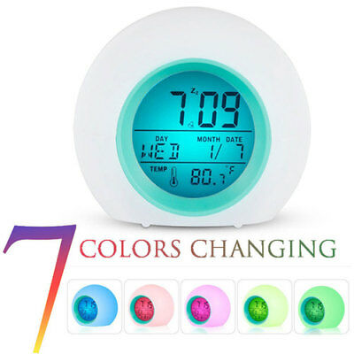 7 Color Changing Glowing Digital Alarm Clock LED Round Alarm Thermometer Light