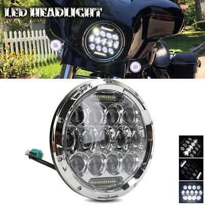 "Chrome New 7"" INCH 75W LED Headlight Hi/Lo Beam DRL For Jeep Wrangler CJ JK LJ"
