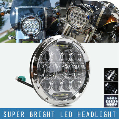 "7"" inch 75W LED Headlight H4-H13 DRL H/Low Beams for Jeep Wrangler Harley Chrome"
