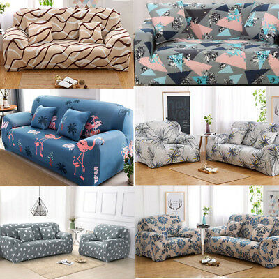 4 SEATERS FLORAL Modern Stretch Slipcover Home Sofa Cover Anti-dirt ...