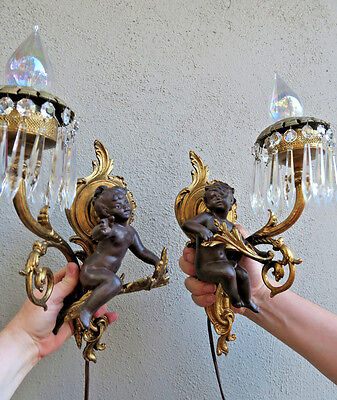 Pair Blackamoor cherubs Spelter Brass sconce French crystal lamp Vintage Antique