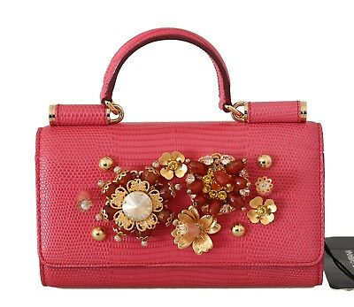 NEW  2040 DOLCE   GABBANA Bag Purse VON Pink Leather Crystal Gold Floral  Hand 0d0f8e977dbd0