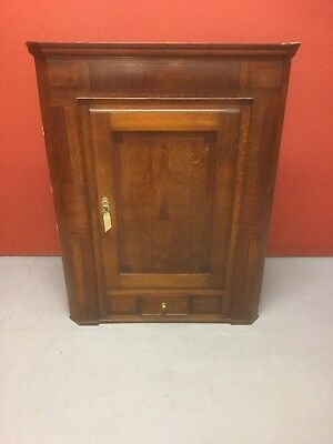 Antique 19th C Inlaid Mahogany And Oak Hanging Corner Cupboard Sn-81a