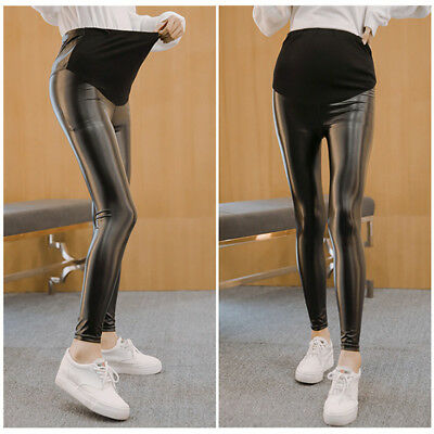 Summer Maternity Pants Leggings Faux Leather Casual Clothes For Pregnant Women