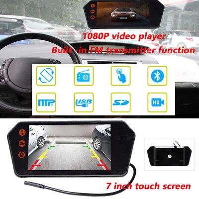 7 inch FM touch screen rearview mirror monitor USB/TF 1080P video player 12V