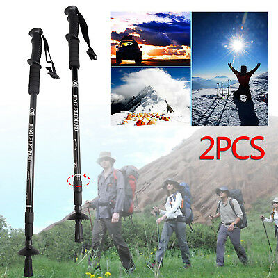 2x Anti Shock Adjustable Camping Hiking Trekking Walking Poles Cane Stick Black