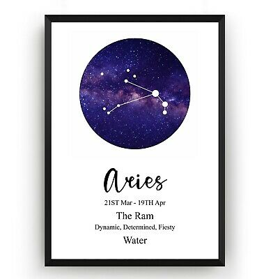 Aries Print Zodiac Constellation - Astrology Gift Poster Star Sign - Unframed
