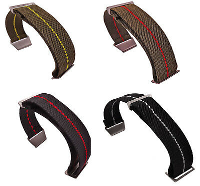 20mm 21mm 22mm Military elasticity Fabric Nylon Watch Band Strap Hook Buckle
