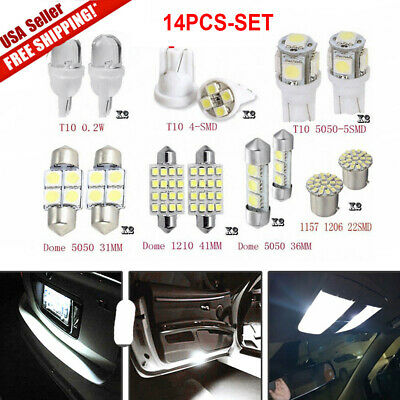14Pcs White T10  LED Interior Package Kit For 36mm Map Dome License Plate Lights