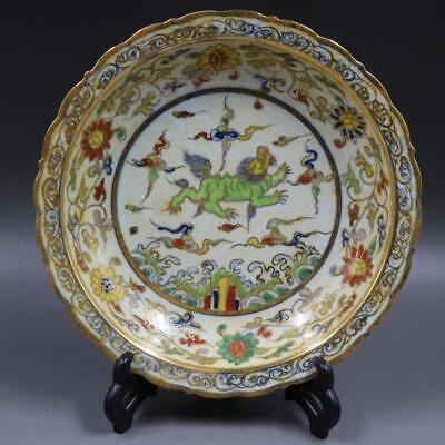 Nice Chinese Ming Dou Polychrome Porcelain Lion Plate