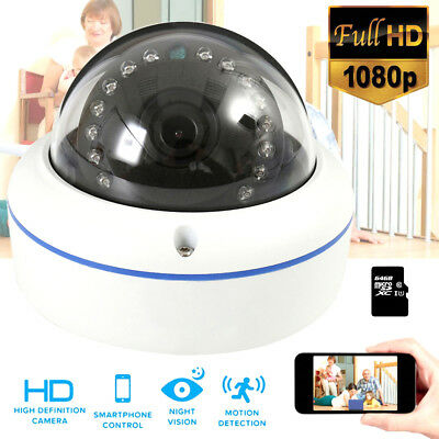 HD 1080P Wireless Outdoor Dome Wifi P2p Security Slot SD Night Vision