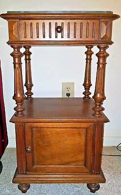 Antique French Early 1800's Oak & Marble Top & Storage Beveled Edge Nightstand