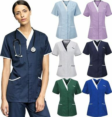 Womens Healthcare Nurses Zip Fastening Tunic Top Ladies V Neck Hospital Uniform