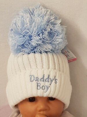 63bb5648f BABY BOYS GIRLS Pompom Knitted Blue Pink Hats Newborn , 3-9 Months ...