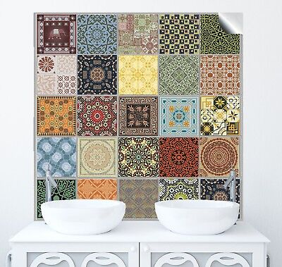"6"" Tile Sticker Traditional Moroccan Transfer Vintage Bathroom Kitchen Fireplace"