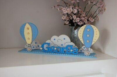 Hot Air Balloon Nursery Idea, PERSONALISED NAME, Childrens Room Sign, Baby Gift