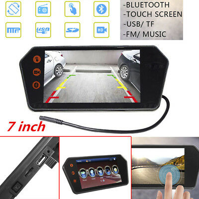 12V Car 7 inch Touch Screen Rearview Mirror Monitor Built-in Bluetooth/FM/USB/TF