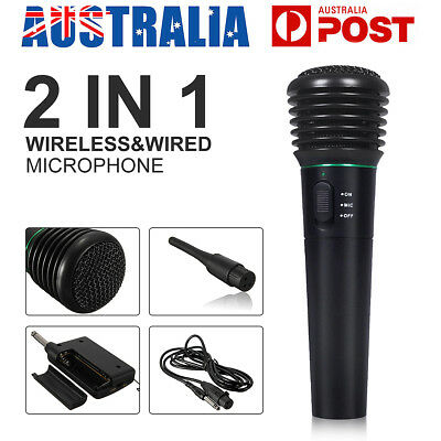 2 in 1 LED Wired&Wireless Microphone Studio Handheld MIC Home Karaoke System AU