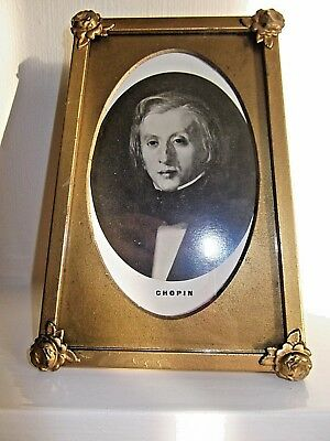 ART DECO 1930/40s SHAPELY & DECORATIVE PHOTO FRAME BRASSED METAL+CHOPIN