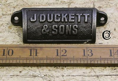 """Cast Antique Iron """"J Duckett & Son"""" Cup Pull Handle - 98mm"""
