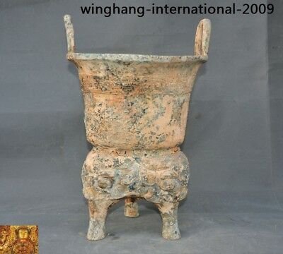 """Old Chinese dynasty Bronze Ware beast face Steamed food utensils pot Yan Jar """"甗"""""""