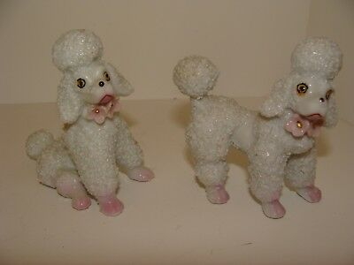 Vintage Spaghetti Trim Pair White Poodle Figurines Made in Japan