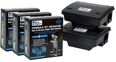 Pest Expert Formula B Rat Killer Poison Bait Blocks & Professional Rat Box