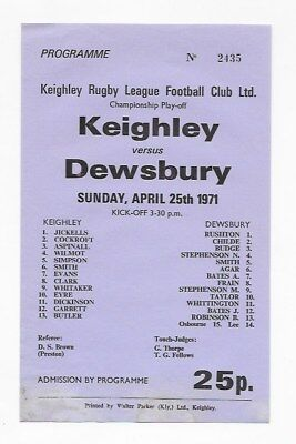 Keighley V Dewsbury 1971 Single Sheet Rugby League Programme England