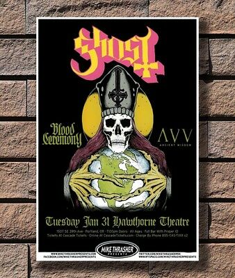 Swedish Heavy Metal Band Music Hot Silk 24x36 27x40IN T-390 Art Poster Ghost