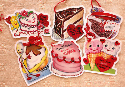 Valentine Tags~6 Gift/Hang Tags~Sweets 2~Vintage Card Images~Handmade