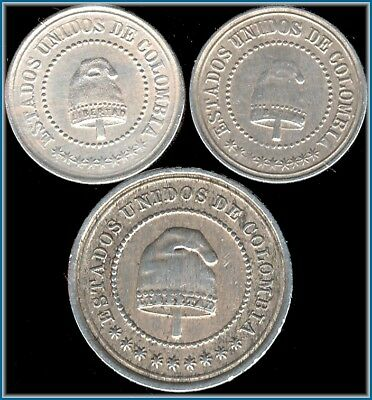 """3 1881 Columbia """"2 1/2 Centavos""""  High Grade Lot 1 Large & 2 Small FREE SHIPPING"""