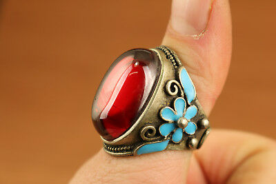 big chinese old tibet silver inlay red zircon statue ring Hand carving flower