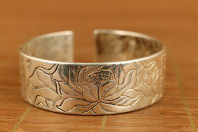 Asian miao silver copper hand carving flower lotus bracelet noble gift