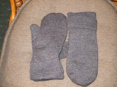 Handmade Recycled Wool Mittens Fleece Lined  Charcoal Gray Men's Size L/XL