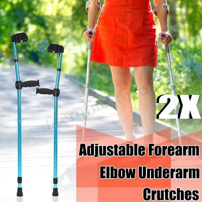 1 Pair Adults Foldable Walking Forearm Cuff Crutches Stick Arm Cuff Elbow Pedal