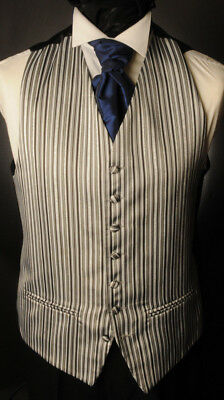 Cw7. Mens/Boys Black/White Stripe Waistcoat /Wedding/Suit/Party/Formal