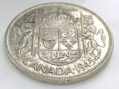 1945 Canada 50 Fifty Cent Half Dollar George VI Canadian Circulated Coin I290