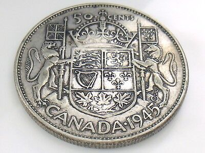 1945 Canada 50 Fifty Cent Half Dollar George VI Canadian Circulated Coin I292